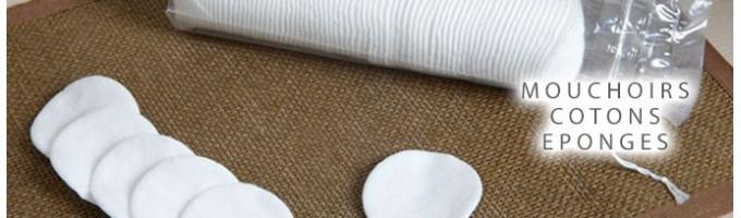 Mouchoirs, cotons, éponges